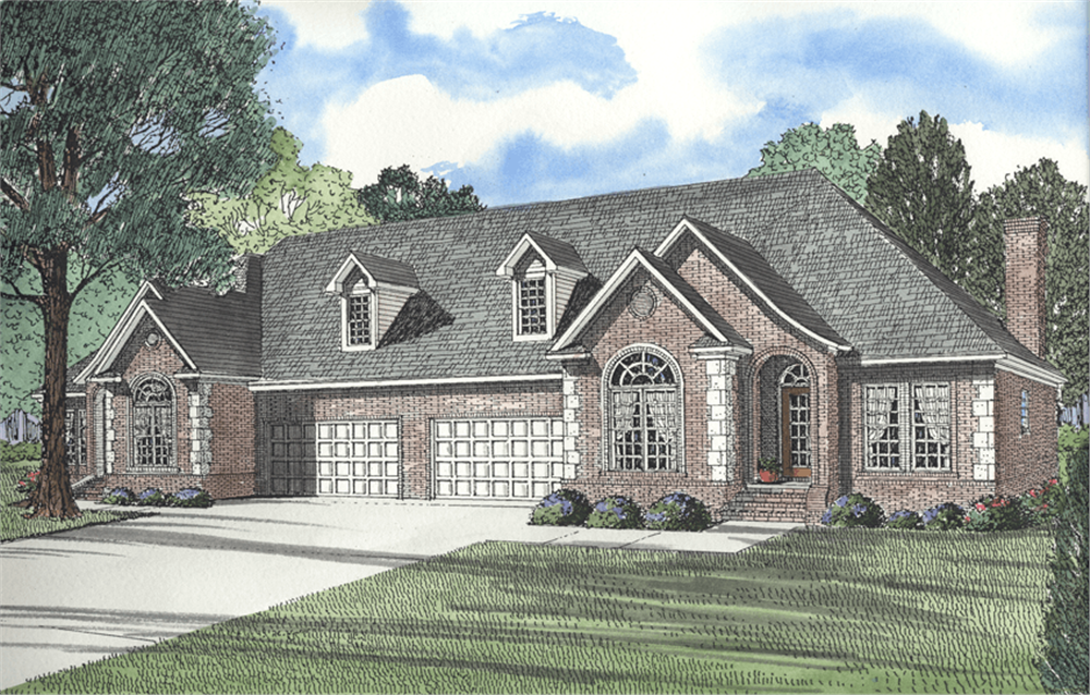 Front elevation of Multi-Unit home (ThePlanCollection: House Plan #153-1296)