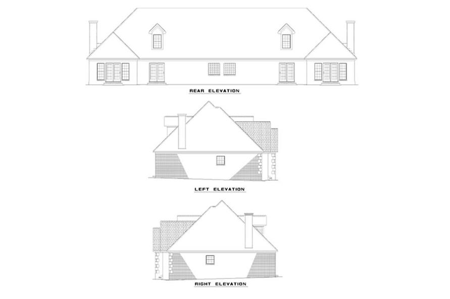 Home Plan Rear Elevation of this 6-Bedroom,1810 Sq Ft Plan -153-1296