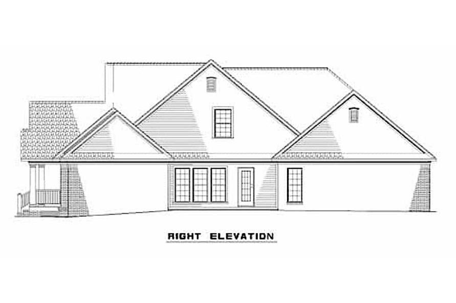 Home Plan Right Elevation of this 3-Bedroom,2146 Sq Ft Plan -153-1305