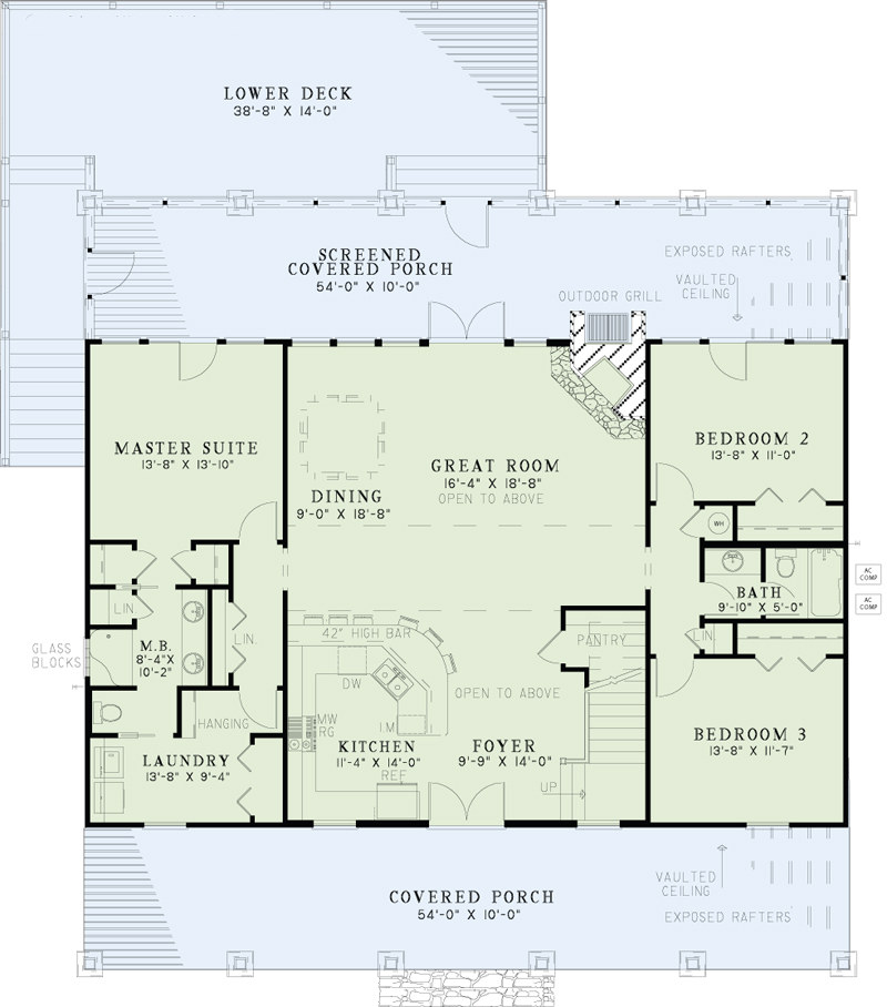 Texas style country house plans home design 153 1313 for Lake floor plans