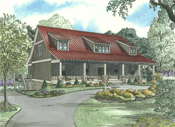 153-1313: Home Plan Front Elevation - Illustration