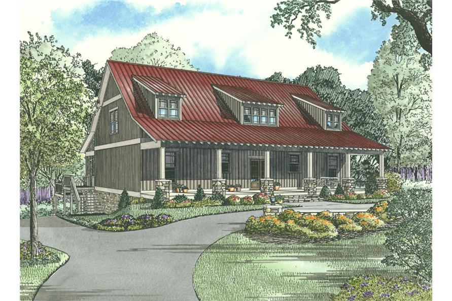 153-1313: Home Plan Front Elevation - Illustration