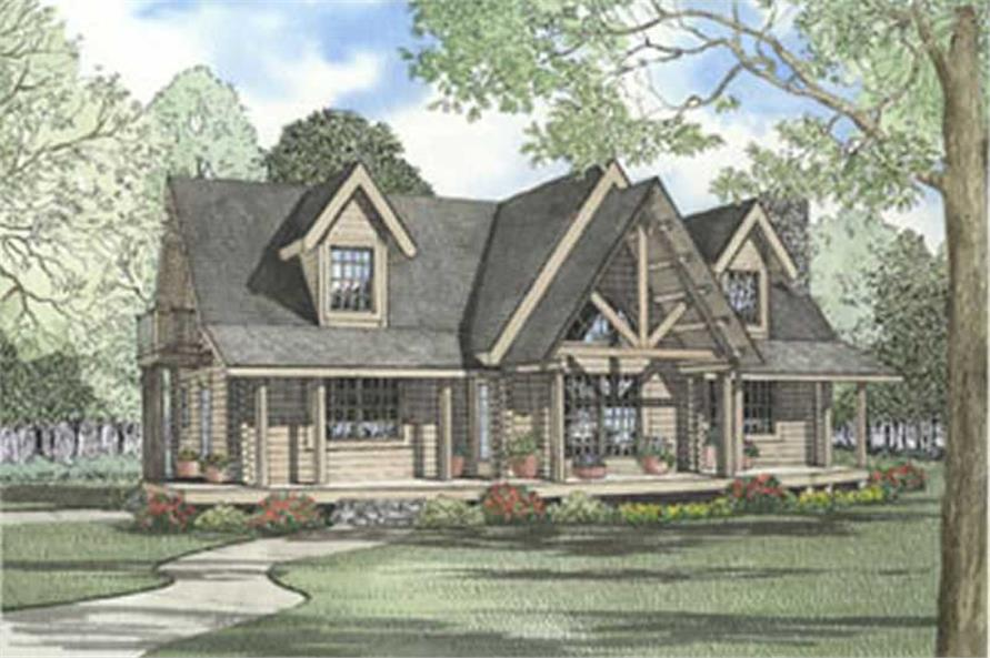 2-Bedroom, 1743 Sq Ft Log Cabin House Plan - 153-1314 - Front Exterior