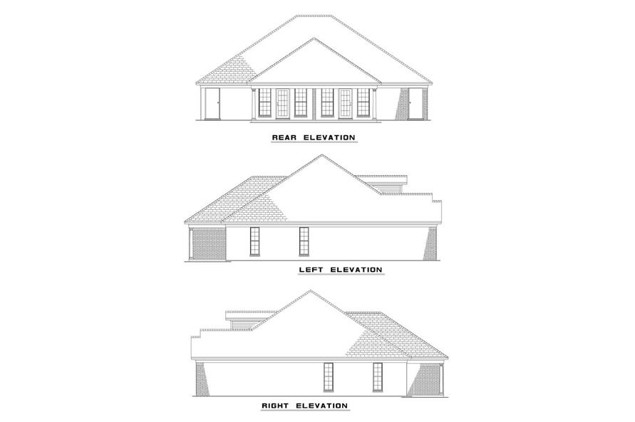 Home Plan Rear Elevation of this 2-Bedroom,1055 Sq Ft Plan -153-1316