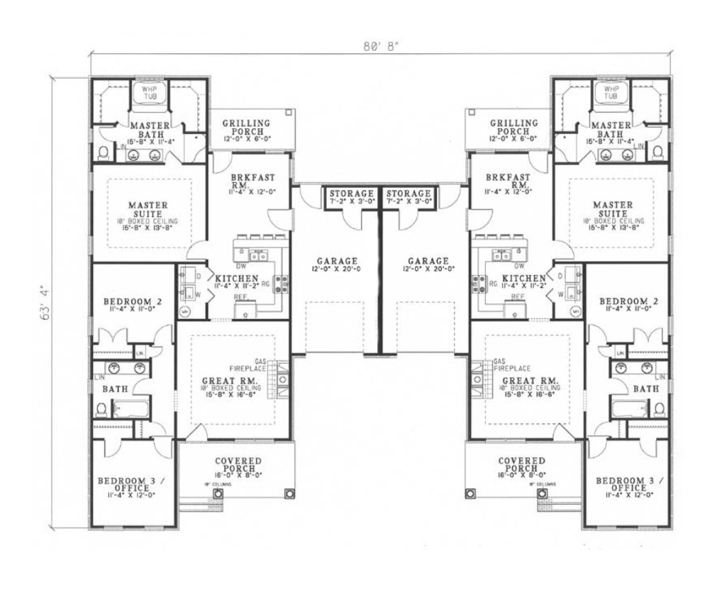 Multi unit house plan 153 1319 6 bedrm 2910 sq ft per for Multi unit house plans