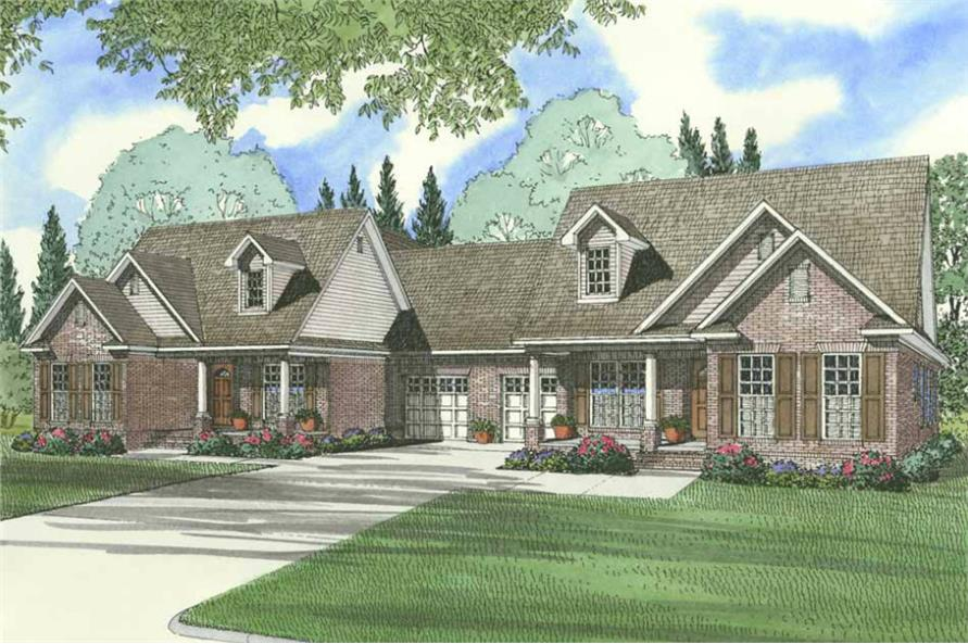 6-Bedroom, 2910 Sq Ft Multi-Unit Home Plan - 153-1319 - Main Exterior
