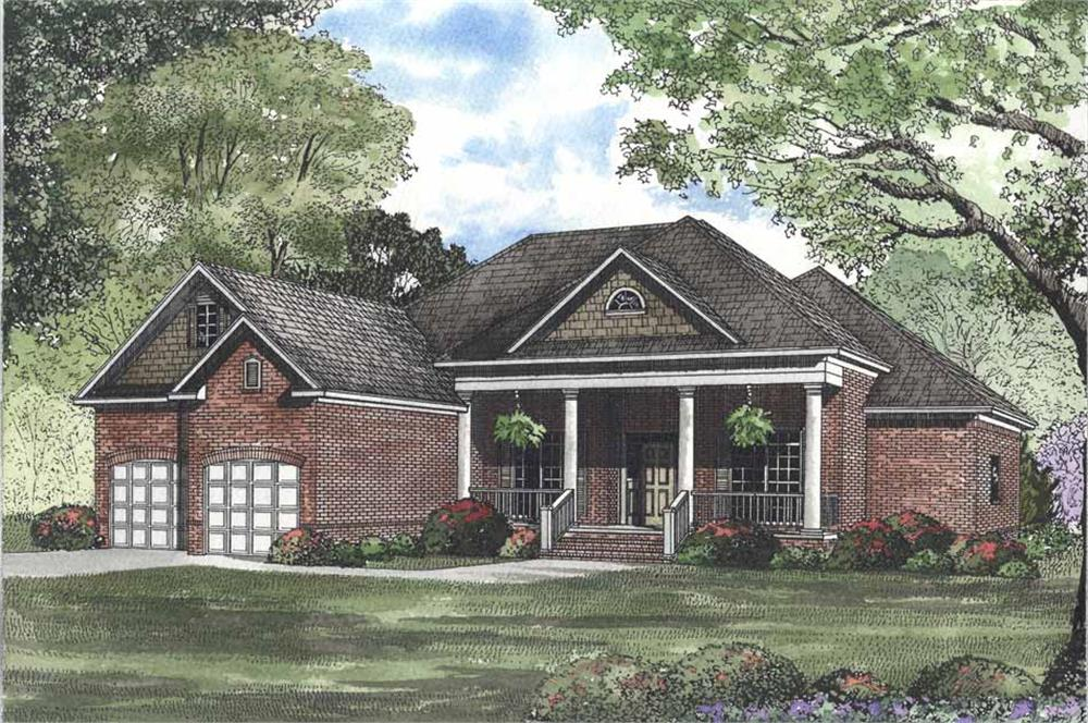 Front elevation of Southern home (ThePlanCollection: House Plan #153-1323)
