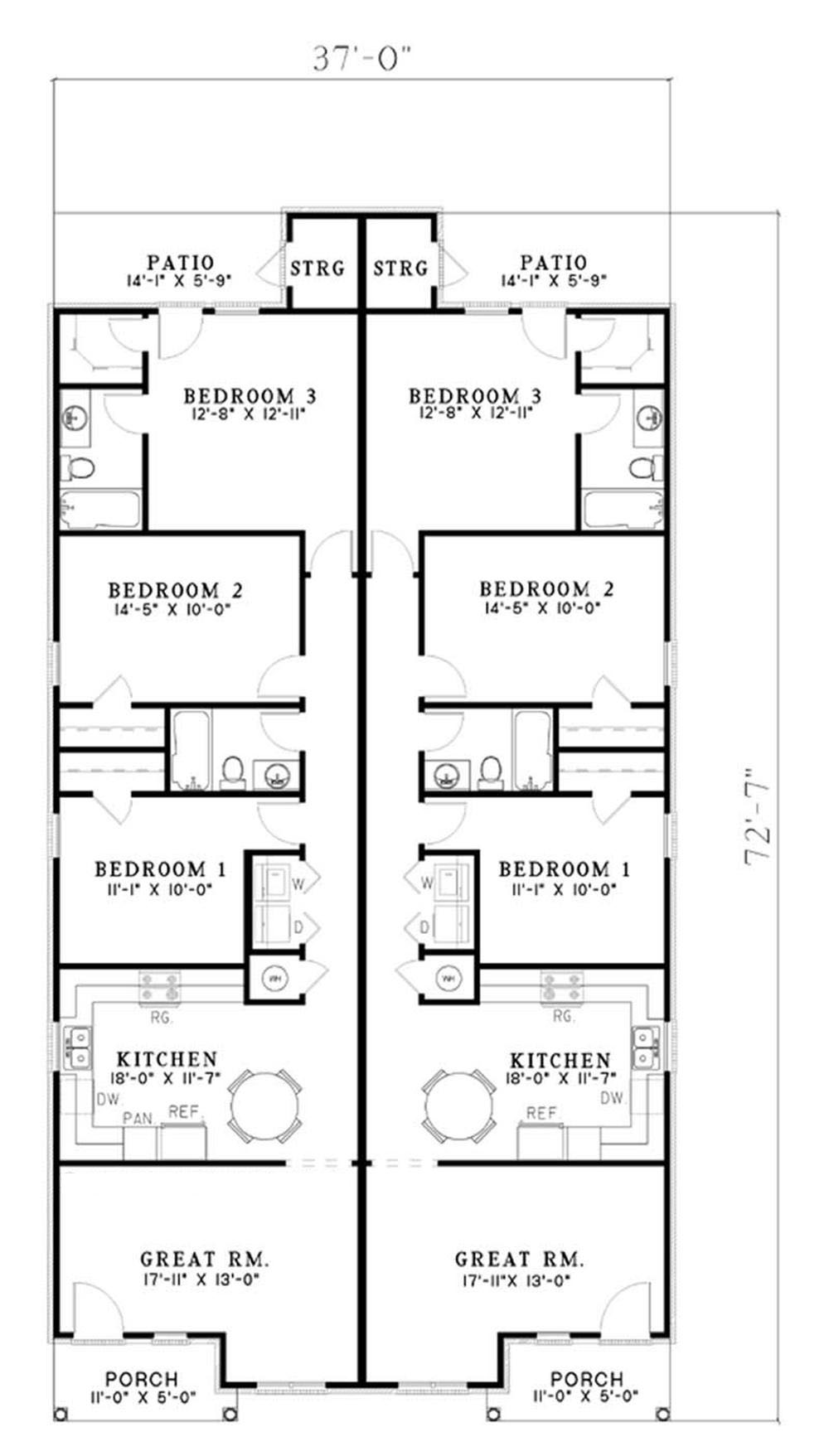 Traditional multi unit duplex house plan 153 1324 for Multi unit building plans