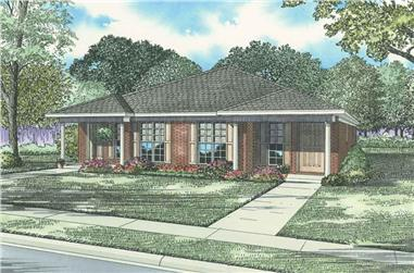 Front elevation of duplex ranch-style home (ThePlanCollection: House Plan #153-1324)
