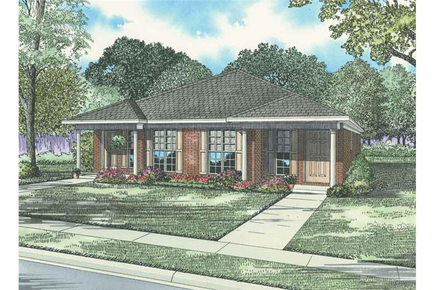 3-Bedroom, 1169 Sq Ft Multi-Unit House Plan - 153-1324 - Front Exterior