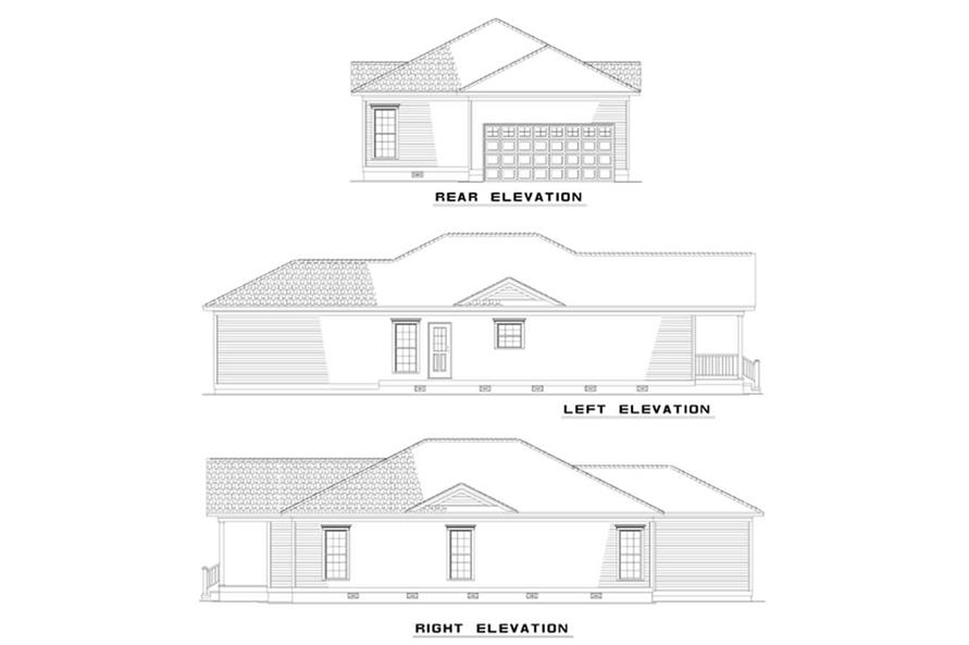 Home Plan Rear Elevation of this 3-Bedroom,1342 Sq Ft Plan -153-1331