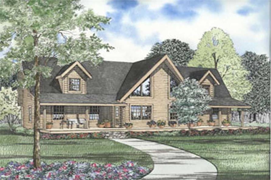 3-Bedroom, 2687 Sq Ft Log Cabin House Plan - 153-1332 - Front Exterior