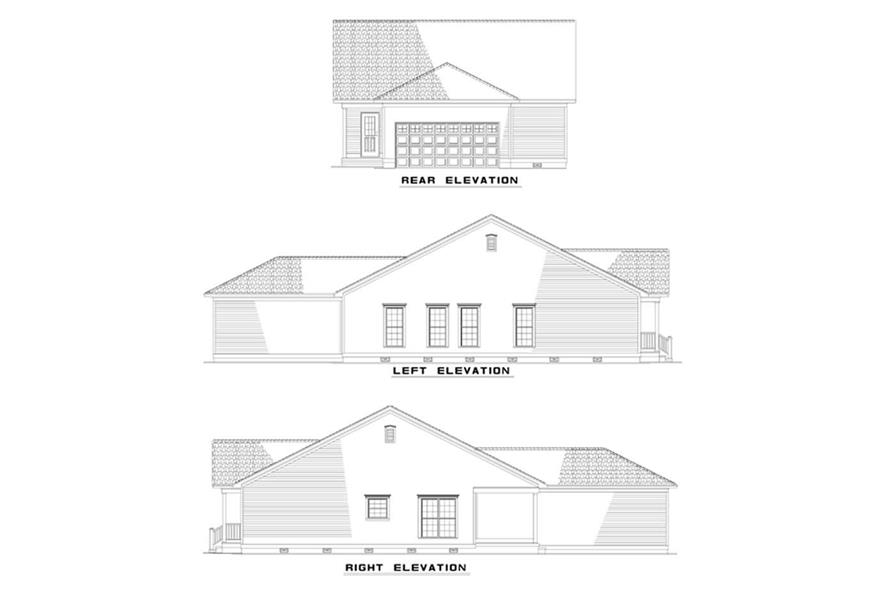 Home Plan Rear Elevation of this 3-Bedroom,1442 Sq Ft Plan -153-1340
