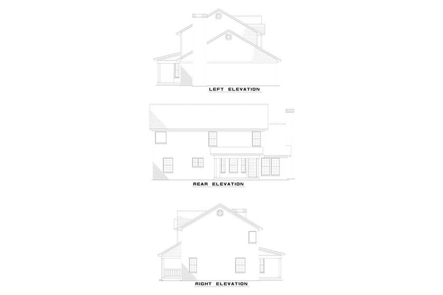 Home Plan Rear Elevation of this 4-Bedroom,2046 Sq Ft Plan -153-1342