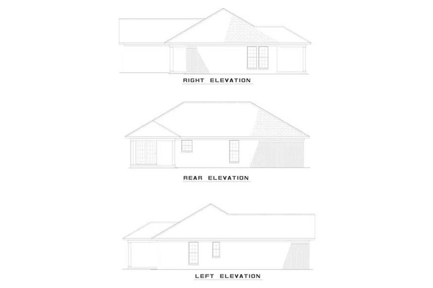 Home Plan Rear Elevation of this 3-Bedroom,1210 Sq Ft Plan -153-1343
