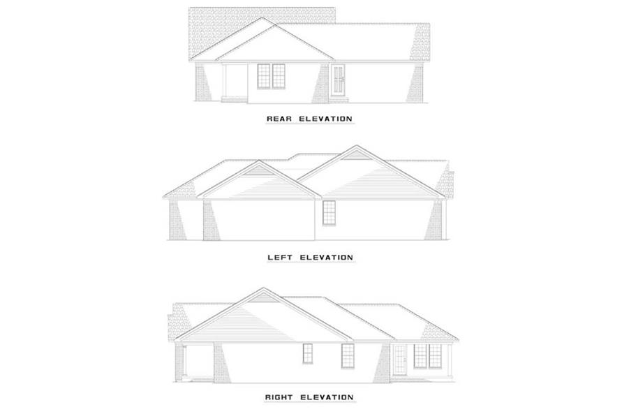 EXTERIOR ELEVATIONS of this 3-Bedroom,1321 Sq Ft Plan -1321