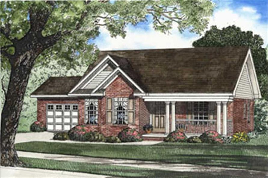 3-Bedroom, 1321 Sq Ft Country Home Plan - 153-1345 - Main Exterior