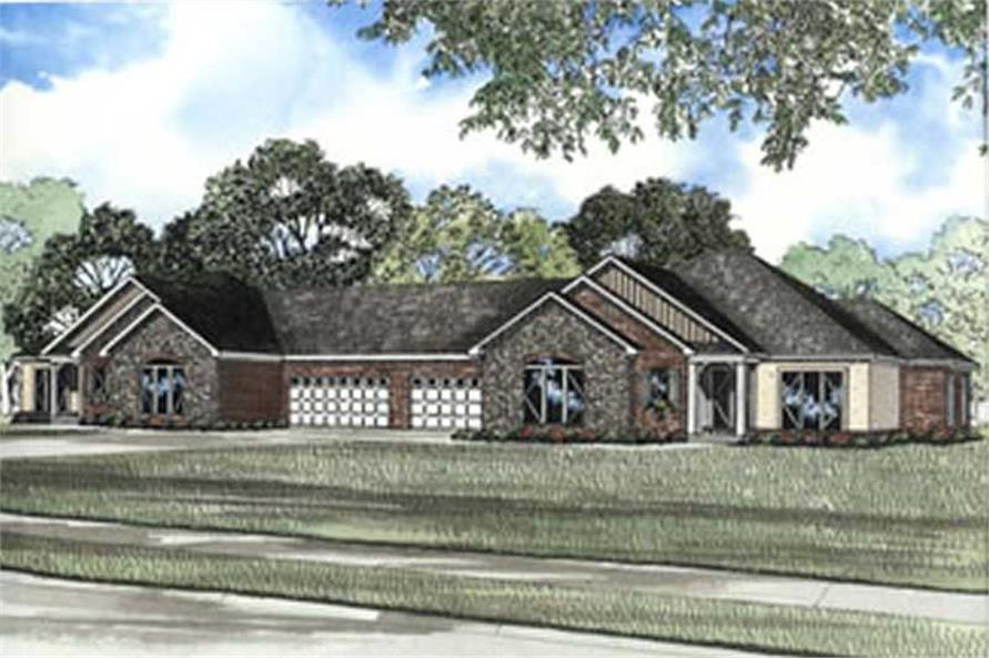 6-Bedroom, 3740 Sq Ft Ranch Home Plan - 153-1348 - Main Exterior