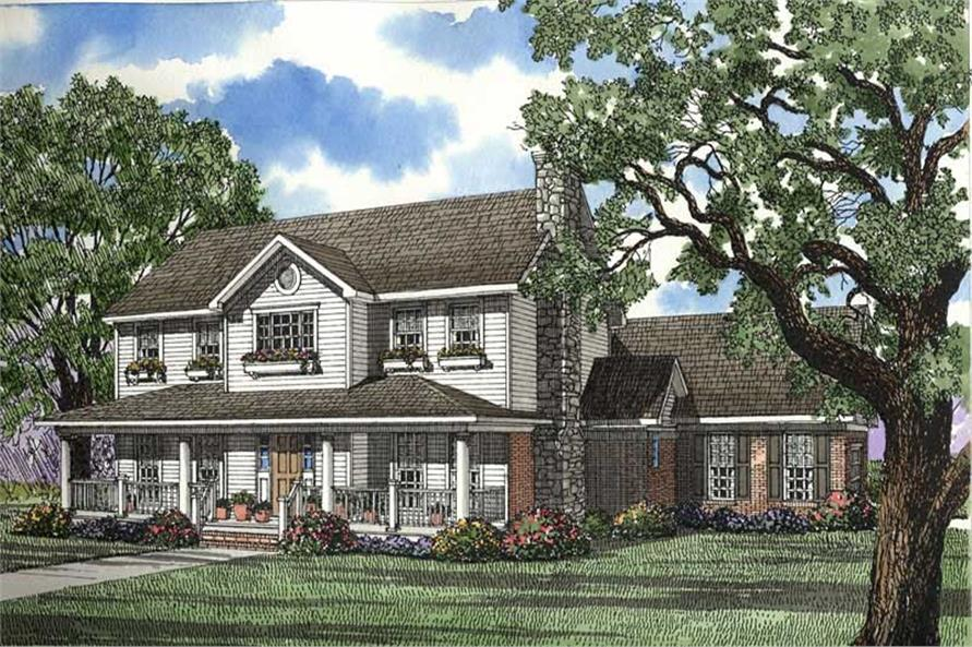 4-Bedroom, 2582 Sq Ft Country House Plan - 153-1349 - Front Exterior