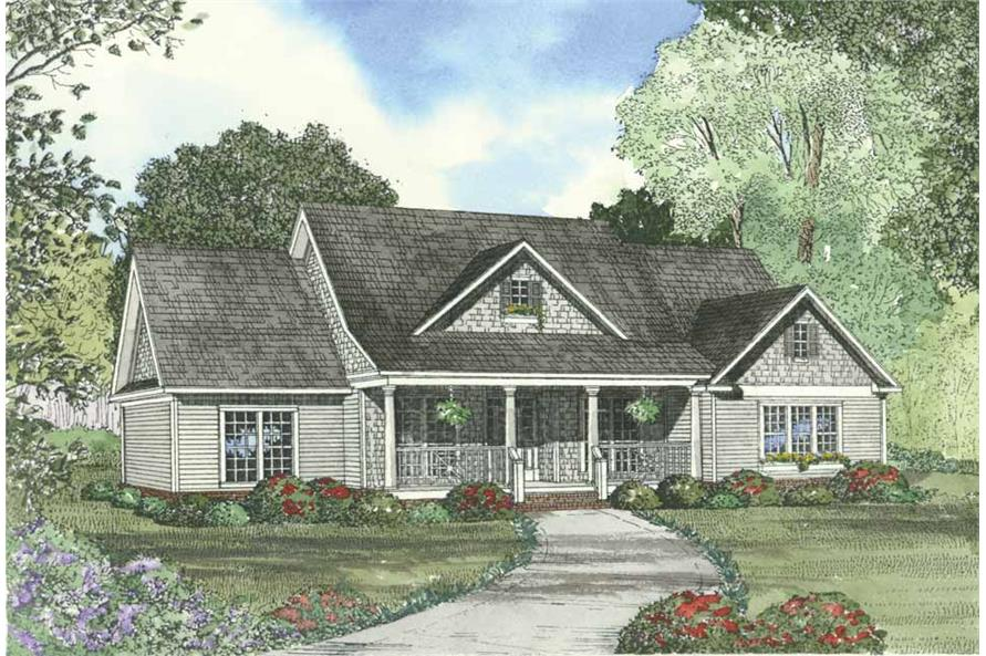 Home Plan Front Elevation of this 4-Bedroom,2261 Sq Ft Plan -153-1351