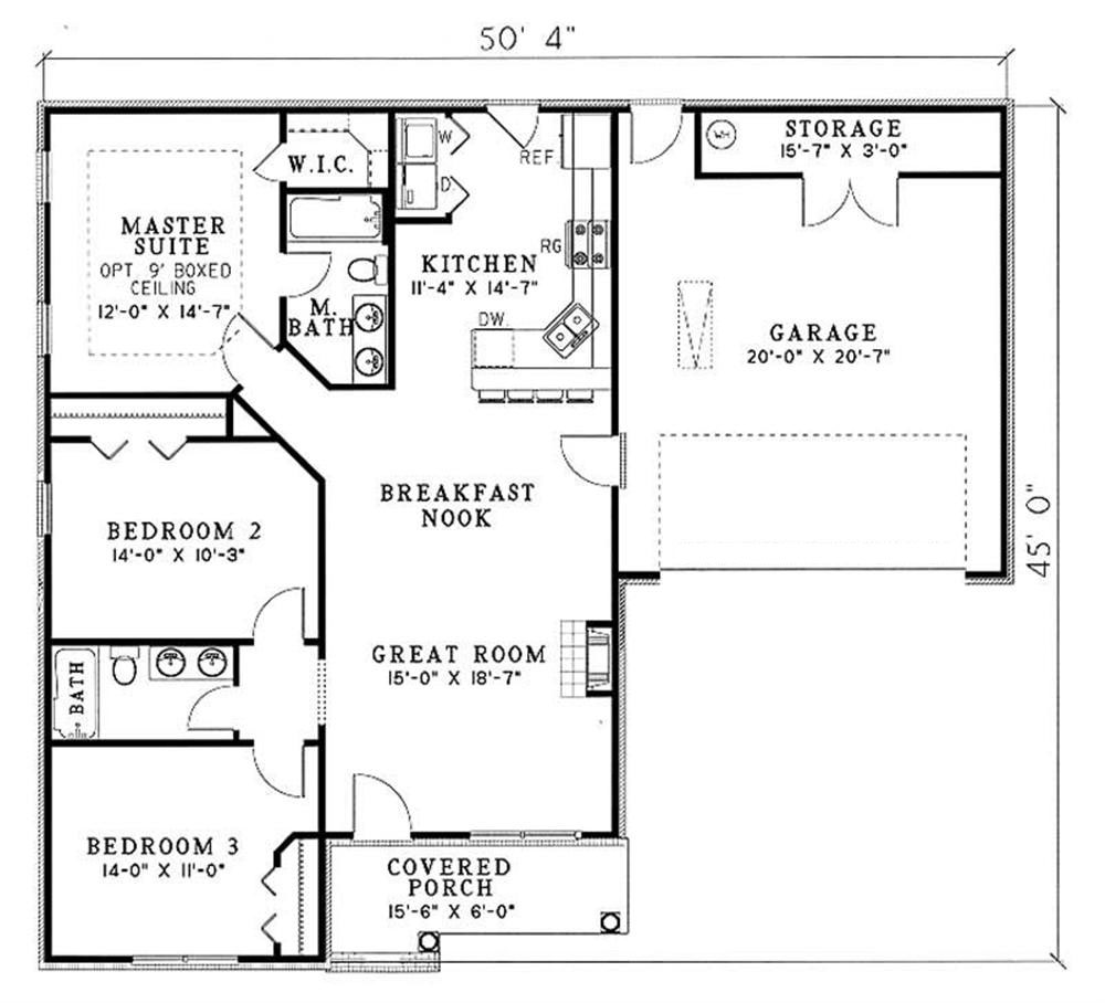 floor plan for a house country home plan 3 bedrms 2 baths 1250 sq ft 153 1352 1836