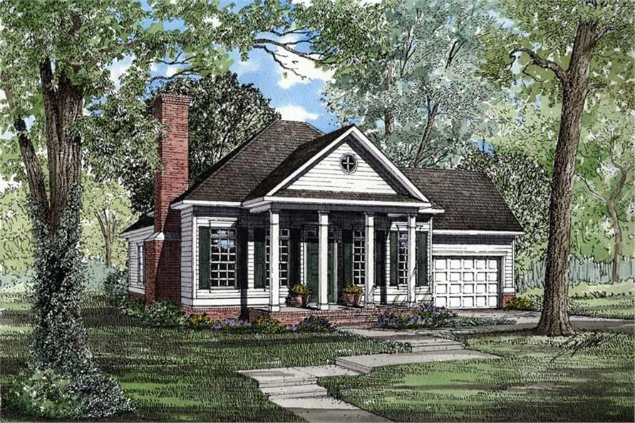Front elevation of Small House Plans home (ThePlanCollection: House Plan #153-1354)