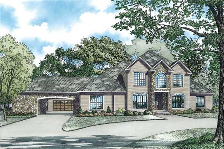 4-Bedroom, 3818 Sq Ft French House Plan - 153-1356 - Front Exterior
