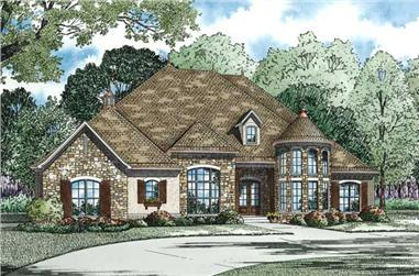 4-Bedroom, 3022 Sq Ft European House Plan - 153-1359 - Front Exterior