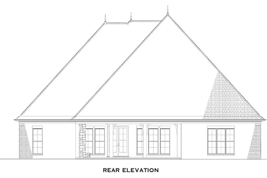 Home Plan Rear Elevation of this 4-Bedroom,3022 Sq Ft Plan -153-1359