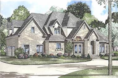 4-Bedroom, 4488 Sq Ft Luxury House - Plan #153-1365 - Front Exterior