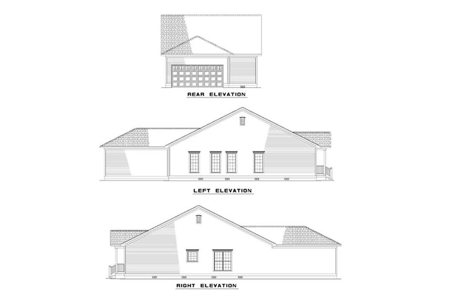 Home Plan Rear Elevation of this 3-Bedroom,1260 Sq Ft Plan -153-1367