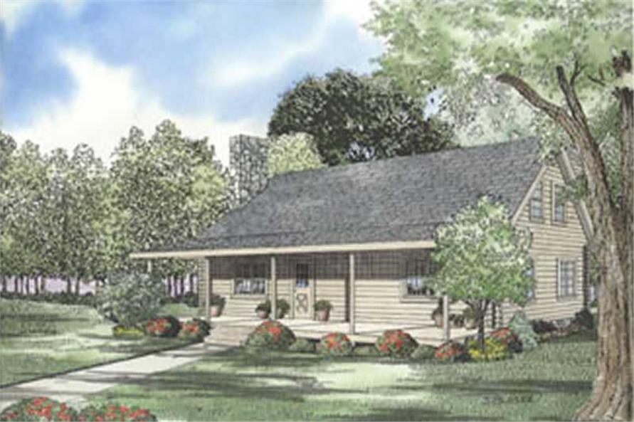 Log Cabin Style Home Design Front Elevation.