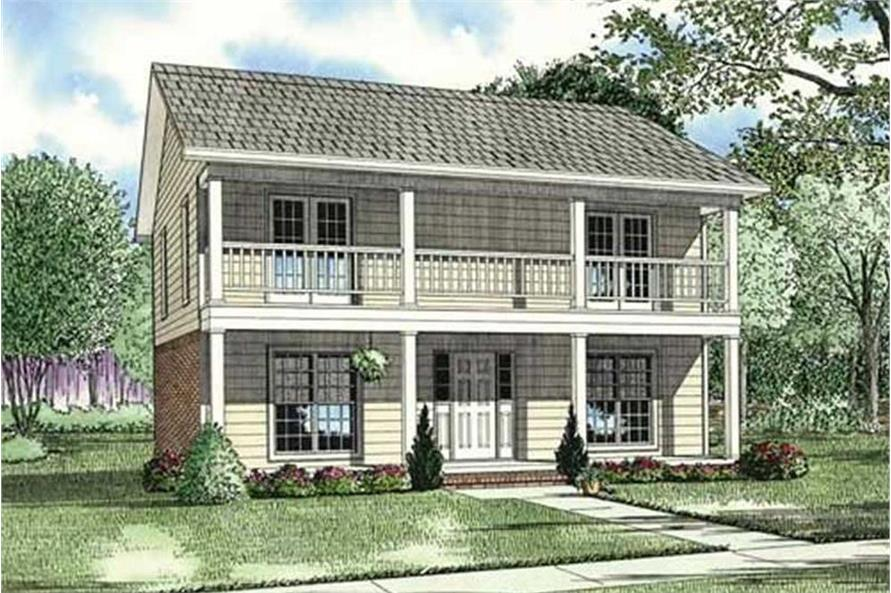 Color rendering of Multi-Unit home floor plan (ThePlanCollection: House Plan #153-1385)