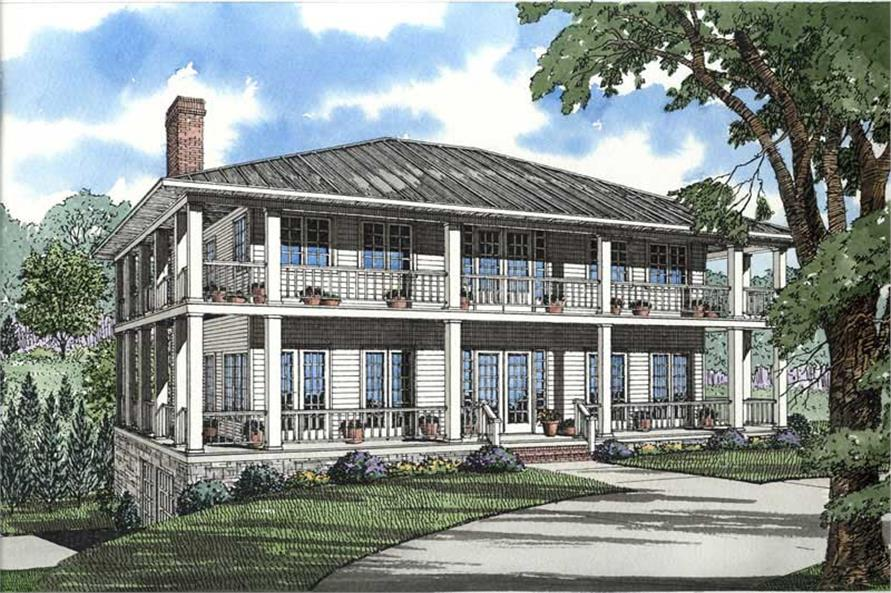 3-Bedroom, 3060 Sq Ft Southern House Plan - 153-1387 - Front Exterior
