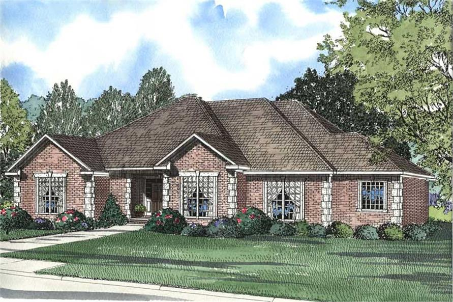 4-Bedroom, 2540 Sq Ft Southern House Plan - 153-1390 - Front Exterior