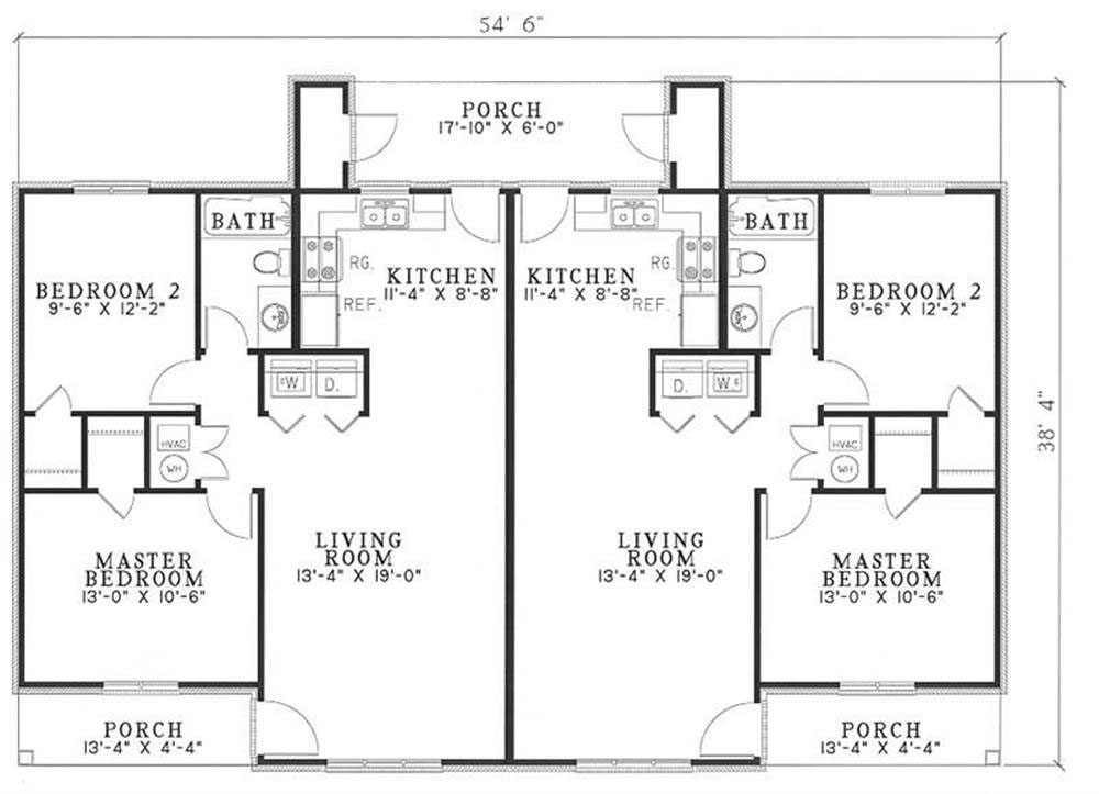 Traditional multi unit house plans home design 3820 for Multi unit home plans