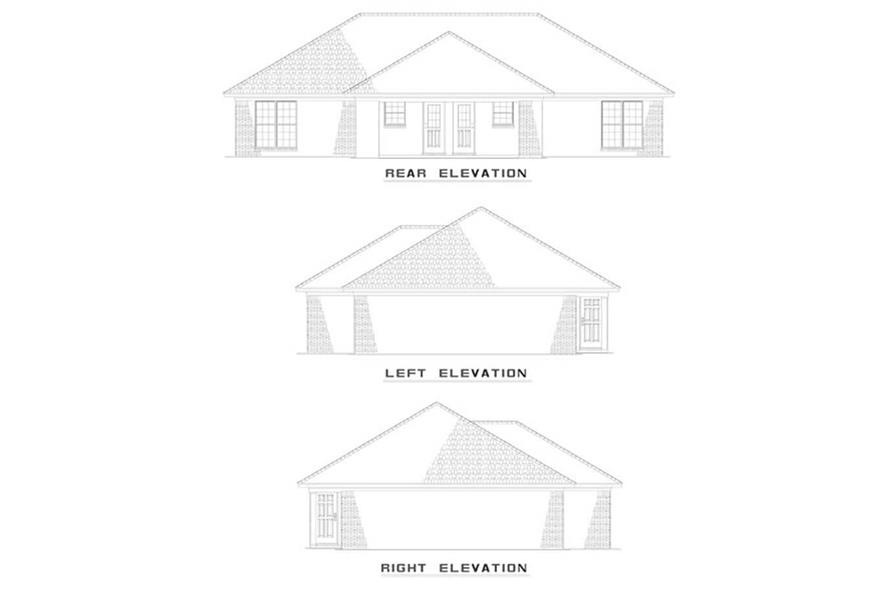 EXTERIOR ELEVATIONS of this 4-Bedroom,1636 Sq Ft Plan -1636