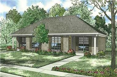 4-Bedroom, 1636 Sq Ft Multi-Unit House Plan - 153-1391 - Front Exterior