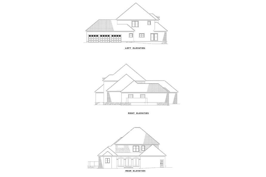 EXTERIOR ELEVATIONS of this 3-Bedroom,3623 Sq Ft Plan -3623