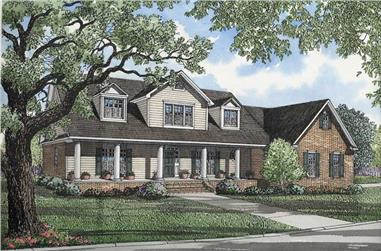 3-Bedroom, 3914 Sq Ft Country House Plan - 153-1401 - Front Exterior