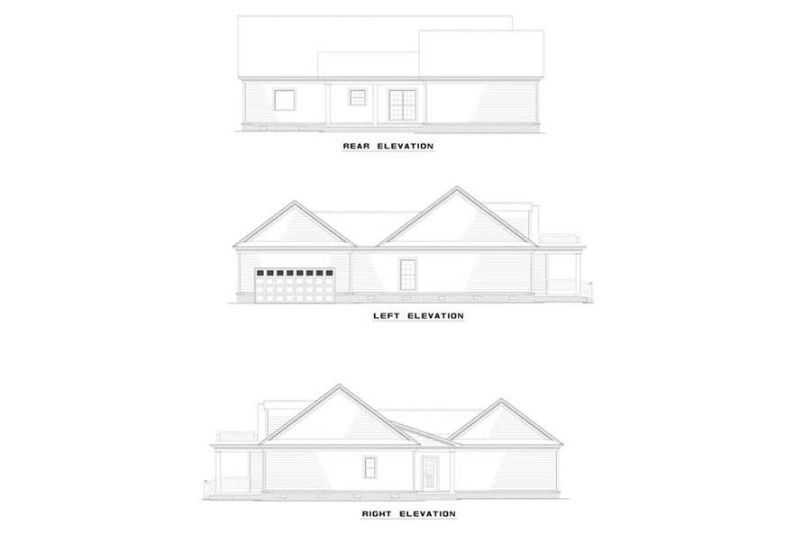 Home Plan Rear Elevation of this 3-Bedroom,1683 Sq Ft Plan -153-1404