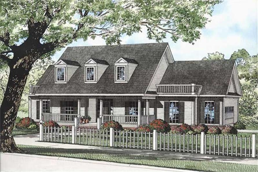 3-Bedroom, 1989 Sq Ft Country Home Plan - 153-1411 - Main Exterior