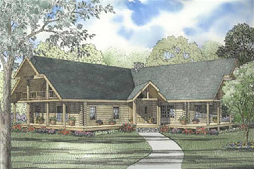 3-Bedroom, 3378 Sq Ft Log Cabin House Plan - 153-1414 - Front Exterior