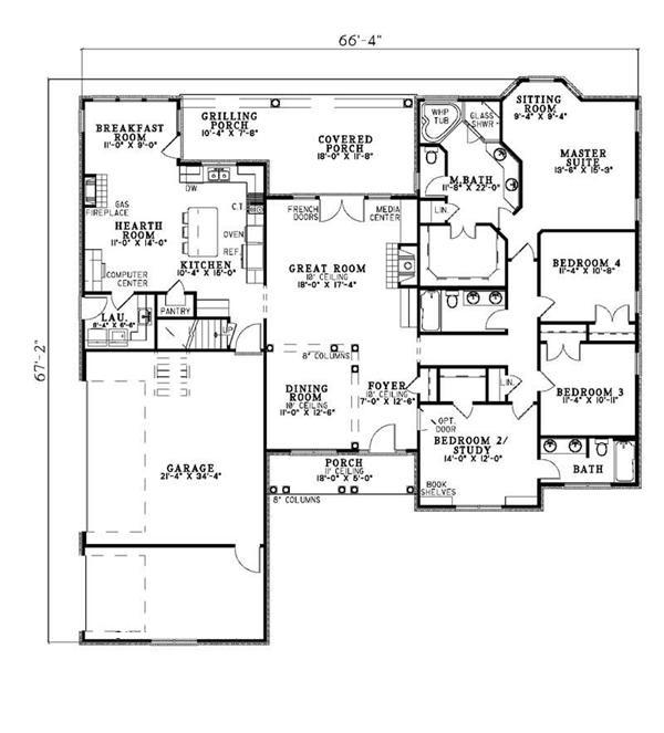 153-1417 house plan main floor