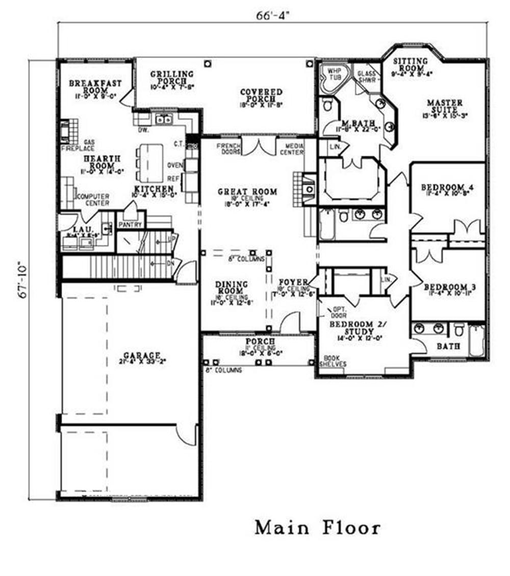 153-1417 house plan alternate floor plan