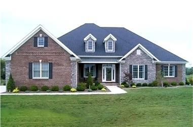 4-Bedroom, 2405 Sq Ft Country House Plan - 153-1417 - Front Exterior