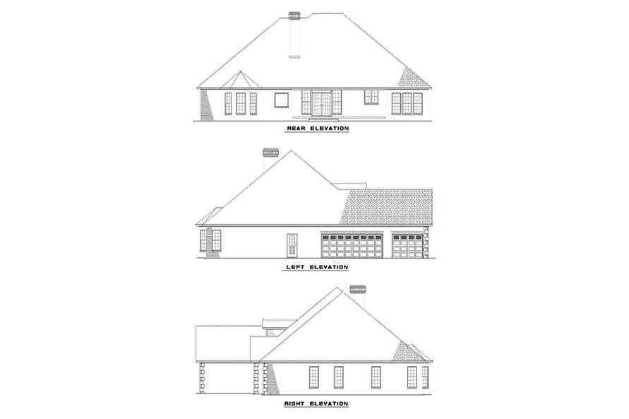 Home Plan Rear Elevation of this 4-Bedroom,2405 Sq Ft Plan -153-1417