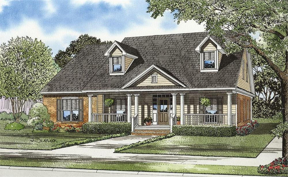 Front elevation of Country home (ThePlanCollection: House Plan #153-1420)