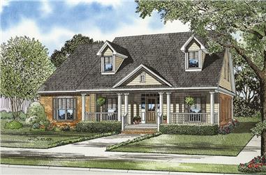 4-Bedroom, 3002 Sq Ft Country House Plan - 153-1420 - Front Exterior