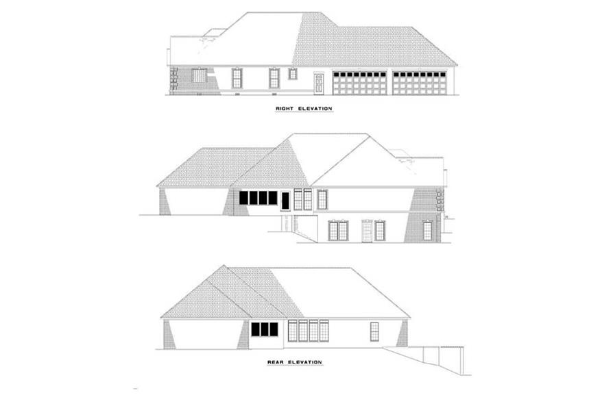 EXTEIROR ELEVATIONS of this 4-Bedroom,3374 Sq Ft Plan -3374